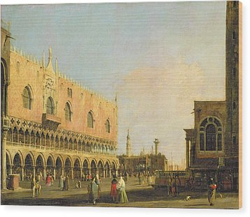 View Of The Piazzetta San Marco Looking South Wood Print by Canaletto