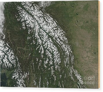 View Of The Rocky Mountains Wood Print by Stocktrek Images