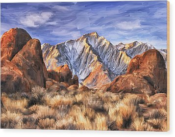 View Of The Sierras Wood Print by Dominic Piperata