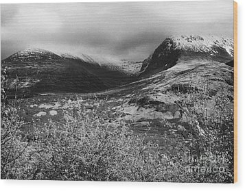 View Of The Summit Of Ben Nevis Snow Capped And Shrouded In Mist In Spring Near Fort William Scotlan Wood Print by Joe Fox