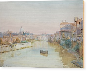 View Of The Tevere From The Ponte Sisto  Wood Print by Ettore Roesler Franz