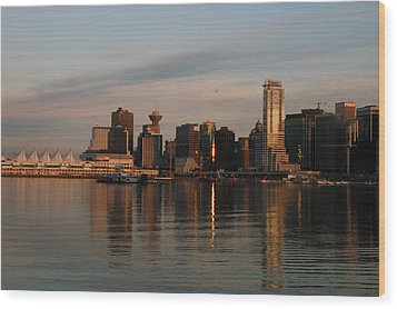 View Of The Waterfront And Downtown Wood Print by Darlyne A. Murawski