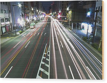 View Of Traffic At Nihonbashi, Tokyo, Japan Wood Print by Billy Jackson Photography