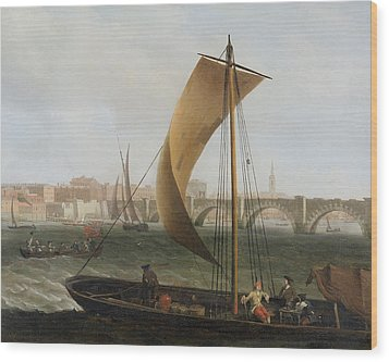 View On The Thames With Westminster Bridge Wood Print by Samuel Scott