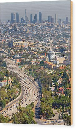 View Over Hollywood & Downtown Los Angeles Wood Print by Photograph by Geoffrey George