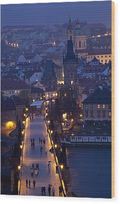 View Over The Charles Bridge Towards Wood Print by Axiom Photographic