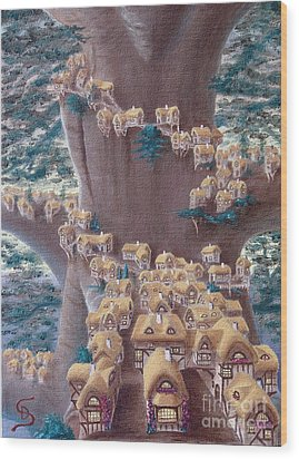 Village In A Tree From Arboregal Wood Print