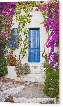 Village In Greece Wood Print