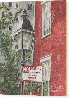 Village Lamplight Wood Print by Debbie DeWitt
