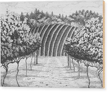 Vineyard Wood Print by Lawrence Tripoli