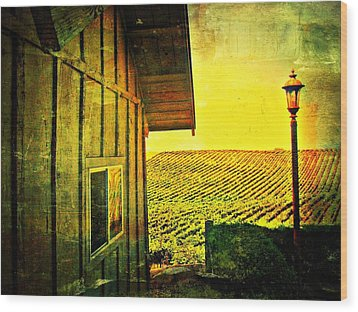 Vineyard Reflection Wood Print by Kevin Moore
