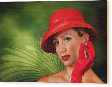 Vintage - Red Hat Lady Wood Print by Trudy Wilkerson
