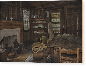Vintage 1850s Cracker Kitchen Wood Print by Lynn Palmer