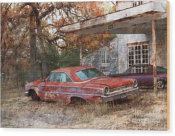Vintage 1950 1960 Ford Galaxy Red Car Photo Wood Print by Svetlana Novikova