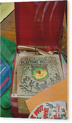 Vintage 45 Record Player And Record Albums Wood Print by Valerie Garner