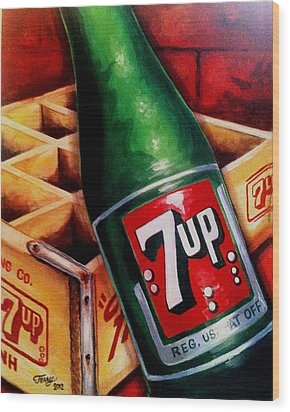 Vintage 7up Bottle Wood Print by Terry J Marks Sr