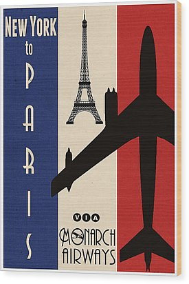 Vintage Air Travel Paris Wood Print by Cinema Photography