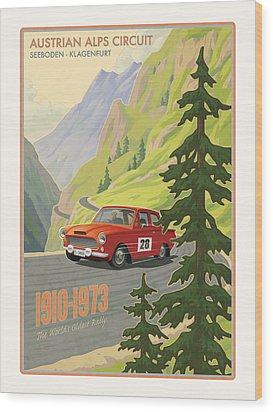 Vintage Austrian Rally Poster Wood Print