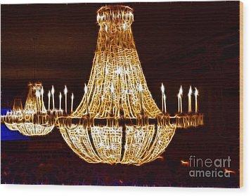 Vintage Ballroom Chandalier Fractal Wood Print by Darleen Stry