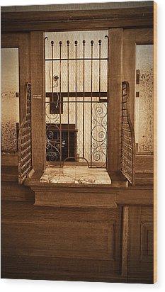 Vintage Bank Teller Station Wood Print by Valerie Garner
