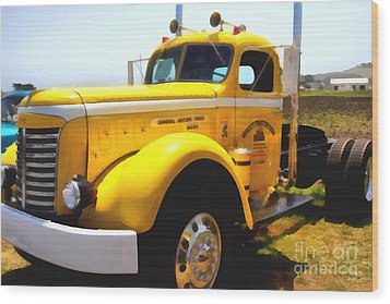 Vintage Big Rig . 7d15483 Wood Print by Wingsdomain Art and Photography