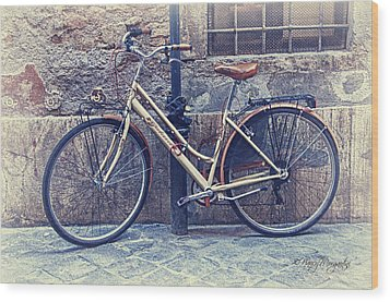 Vintage Bike Wood Print by Nancy Morgantini