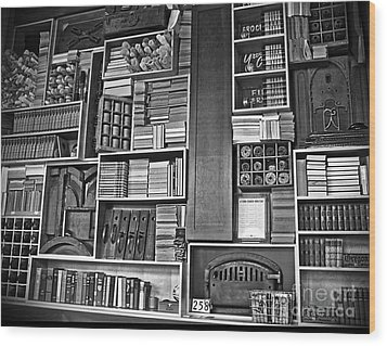 Vintage Bookcase Art Prints Wood Print by Valerie Garner