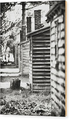 Vintage Cabins Wood Print by John Rizzuto
