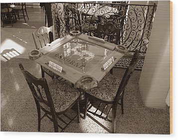 Vintage Domino Table Wood Print by David Lee Thompson