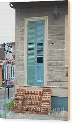 Vintage Dual Color Wooden Door And Brick Stoop French Quarter New Orleans Accented Edges Digital Art Wood Print by Shawn O'Brien