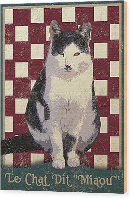 Vintage French Bistro Cat Wood Print by Flo Karp