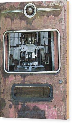 Vintage Gas Pump Wood Print by Alan Look