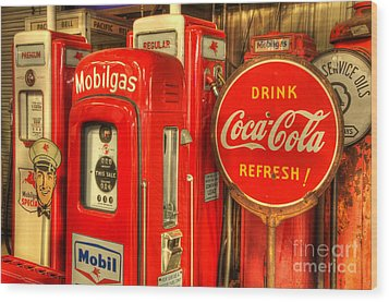Vintage Gasoline Pumps 2 Wood Print by Bob Christopher