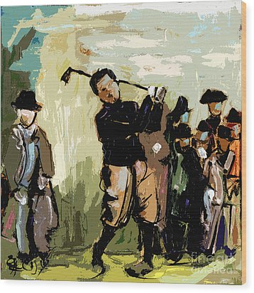 Vintage Golfer And Spectators Wood Print by Ginette Callaway