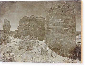 Vintage Hovenweep Castle Wood Print by Bob and Nancy Kendrick