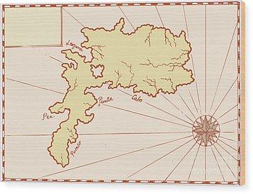 Vintage Map Of Island Wood Print by Aloysius Patrimonio
