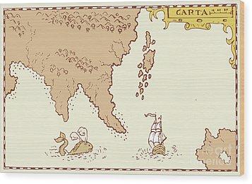 Vintage Map Treasure Island Tall Ship Whale Wood Print by Aloysius Patrimonio