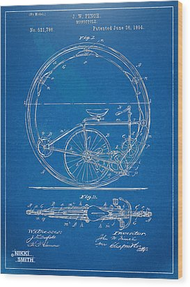 Vintage Monocycle Patent Artwork 1894 Wood Print by Nikki Marie Smith