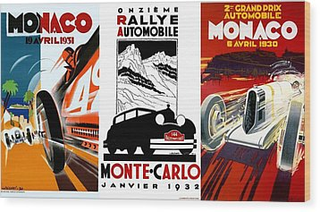 Vintage Monte Carlo Racing Posters Wood Print by Don Struke