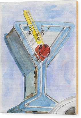 Vintage Neon- Martini Glass Wood Print by Sheryl Heatherly Hawkins
