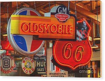 Vintage Neon Sign Oldsmobile Wood Print by Bob Christopher