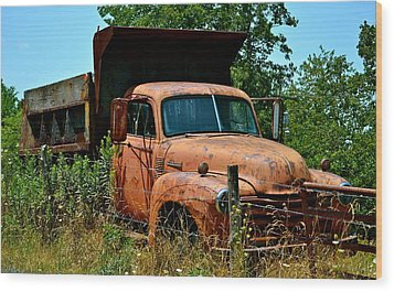 Wood Print featuring the photograph Vintage Old Time Truck by Peggy Franz