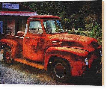 Vintage Pickup Truck Wood Print by Trudy Wilkerson