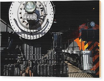 Vintage Railroad Locomotive Trains In The Train House . 7d11633 Wood Print by Wingsdomain Art and Photography