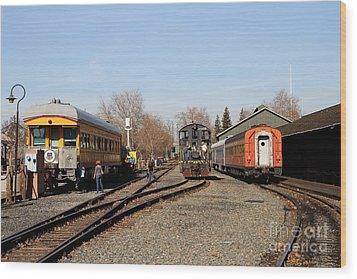Vintage Railroad Trains In Old Sacramento California . 7d11513 Wood Print by Wingsdomain Art and Photography