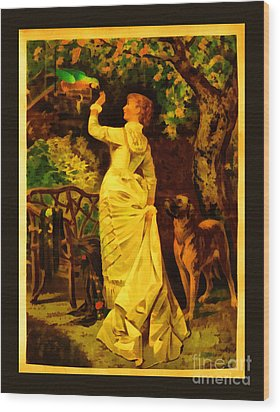Vintage Reproduction Of Woman Feeding Parrot Wood Print by Anne Kitzman