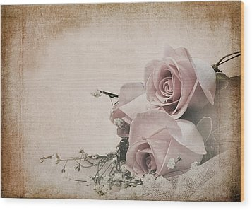 Vintage Roses Wood Print by Trudy Wilkerson