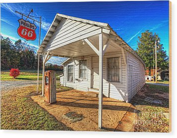 Vintage Rural One Pump Gas Station Wood Print by Dan Carmichael