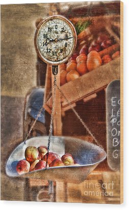 Vintage Scale At Fruitstand Wood Print by Jill Battaglia