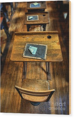 Vintage School Desks Wood Print by Jill Battaglia